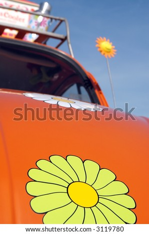 road trip VW beetle - the classic car of the 60's generation - stock photo