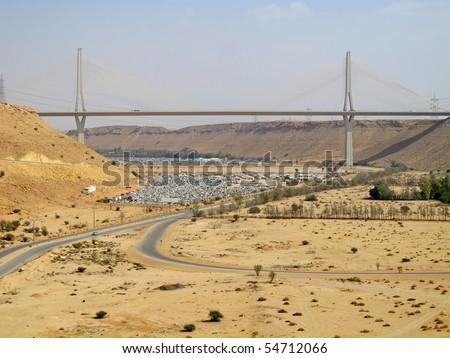 Road trough the desert. Riyadh-Mecca highway in Saudi Arabia - stock photo