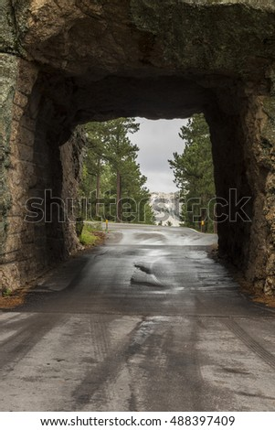 Road Tunnel with Mount Rushmore View