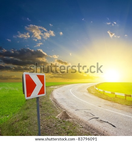road turn at the sunset