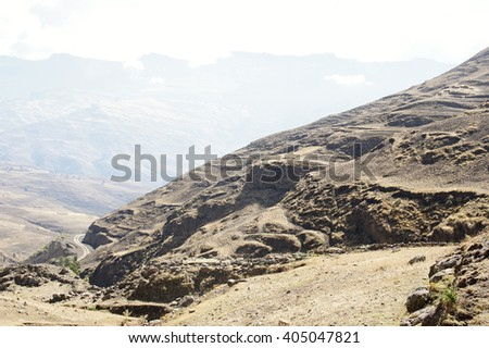 Road under Bwahit pass, Simien mountains, Ethiopia - stock photo