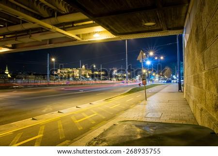 road under the bridge in Budapest - stock photo