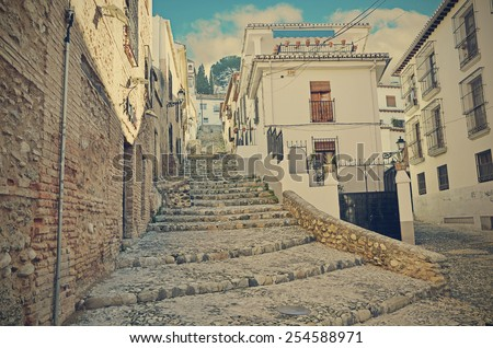 Road up to the neighborhood of albaic�­n in Granada - stock photo