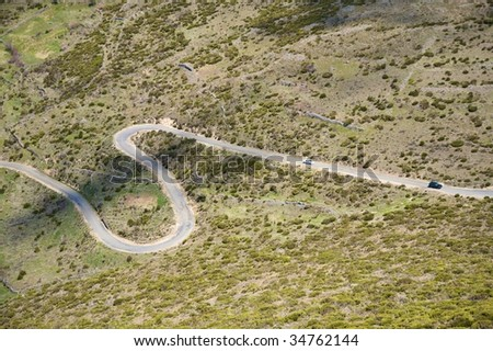 road valley at gredos mountains in avila spain - stock photo
