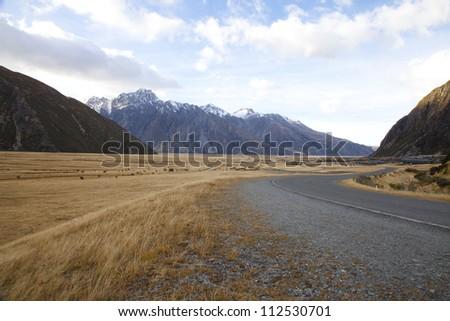 Road valleys Aoraki Mount Cook National park Southern Alps mountain valleys New Zealand - stock photo