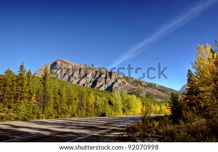 Road view of forests and mountains in Jasper National Park - stock photo