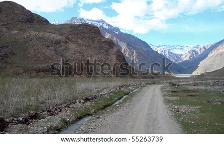 Road views while trekking in Spiti valley in the Himalayan mountains, Northern India - stock photo