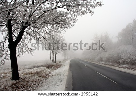 Road 2. Watch out the road is foggy and slippery.