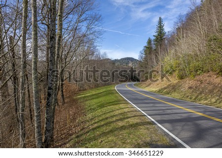 Road Winding Through the Smoky Mountains in Late November - Tennessee, USA - stock photo