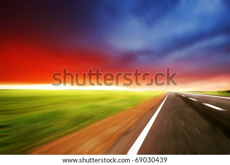 road with blur  sky - stock photo