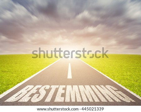 Road with dutch word for destination - stock photo