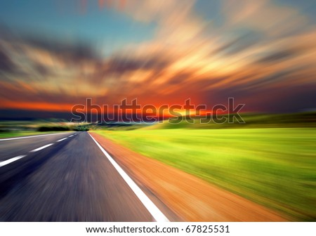 road with motion blur  sky