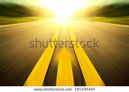 Road With Painted Yellow Line arrow.
