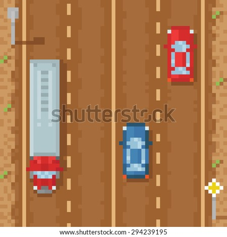 Road with red blue cars and cargo truck - retro pixel art raster illustration - stock photo