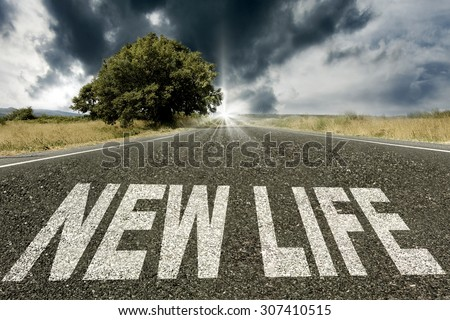 road with the message of new life - stock photo