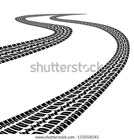 Road with traces of tires.Black and white - stock photo
