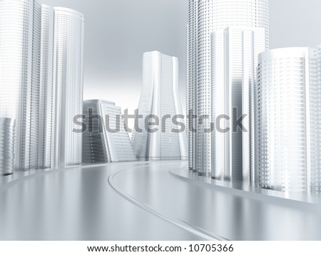 Road with turn in an environment of modern buildings and skyscrapers - stock photo