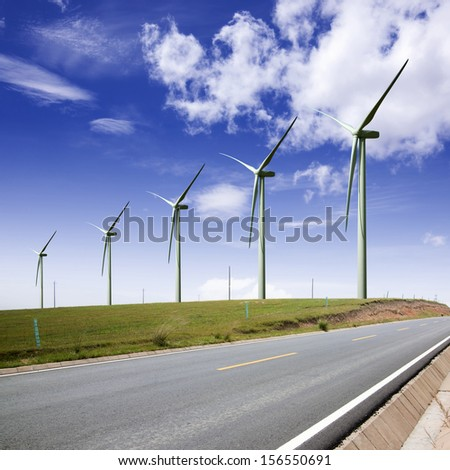 Road with windmills