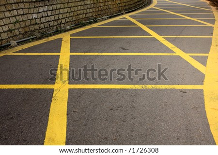 road with yellow lines - stock photo