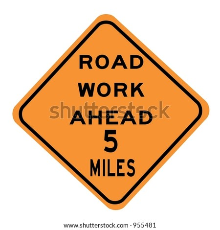 Road work 5 miles ahead sign isolated on a white background - stock photo