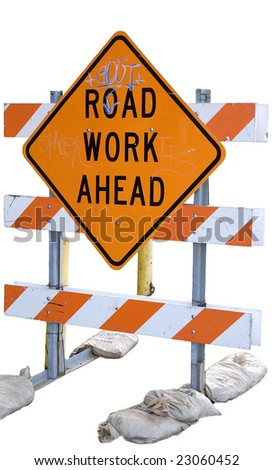 Road work sign with graffiti on it isolated on a white background - stock photo