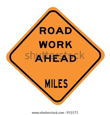 Road work x Miles Ahead sign isolated on a white background - stock photo