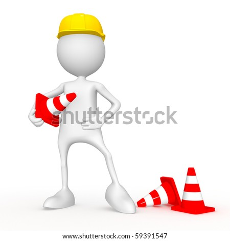 Road worker. 3d image isolated on white background. - stock photo