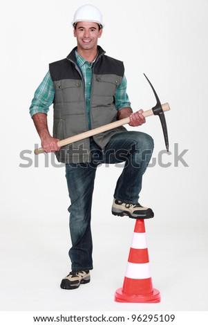 road worker posing - stock photo