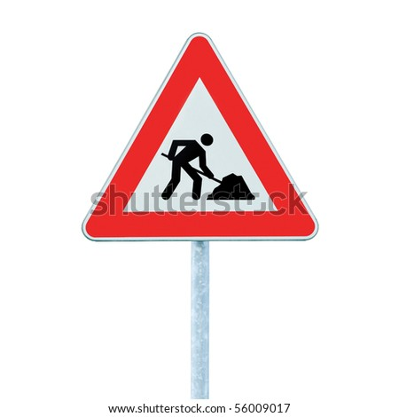 Road Works Ahead Warning Road Sign With Pole, isolated under construction roadworks concept - stock photo