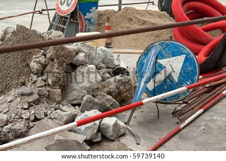 road works in a city street in Milan - stock photo