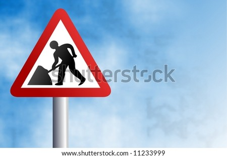 road works sign - stock photo