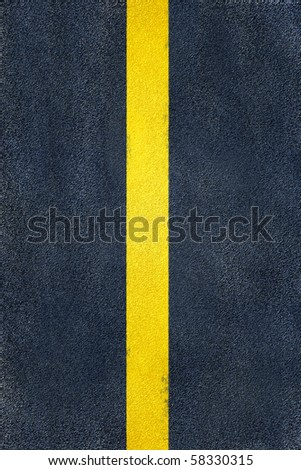road yellow marking on asphalt, center single line - stock photo