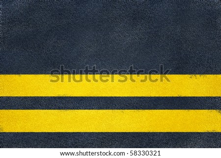 road yellow marking on asphalt, double line - stock photo