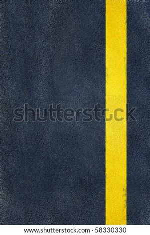 road yellow marking on asphalt, single line - stock photo
