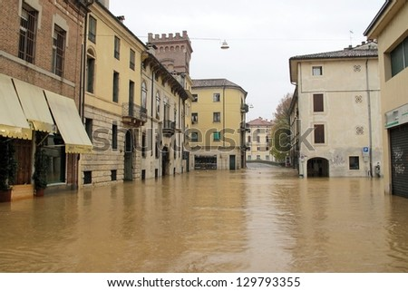 roads and streets of the city submerged by the mud of the flood after the flooding of the River - stock photo