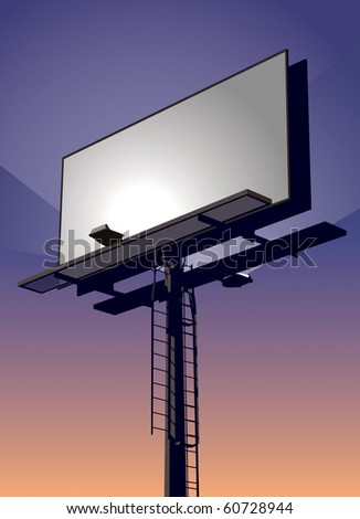 Roadside billboard sign at sunset with blank front for your message. - stock photo