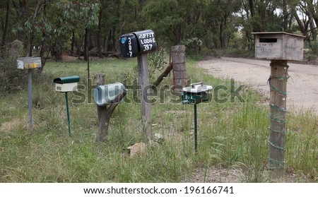 Roadside letter boxes. Country NSW. Australia. - stock photo