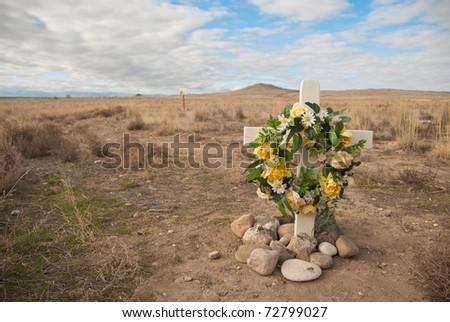 Roadside rememberance site - stock photo