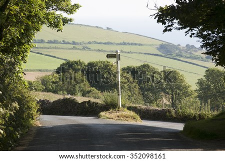Roadside signpost at Pond Green in Bigbury south Devon England UK - stock photo