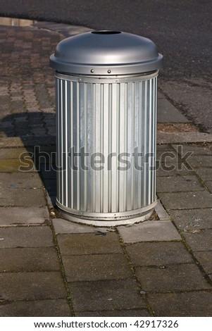 Roadside trash bin - stock photo