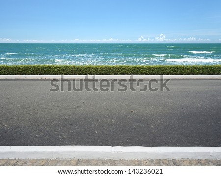 Roadside view and beach background - stock photo