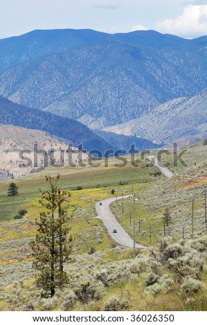 Roadside view of the desert-like landscape along the highway 1, british columbia, canada - stock photo