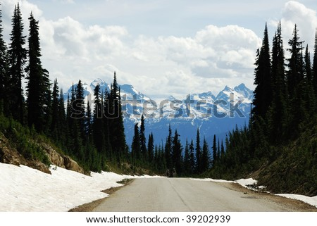 Roadside view of the rocky mountains and forest along the highway 1, british columbia, canada - stock photo