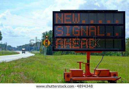 Roadside warning sign - stock photo
