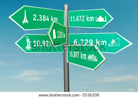 Roadsign indicating six world famous buildings with distances in kilometers over blue sky