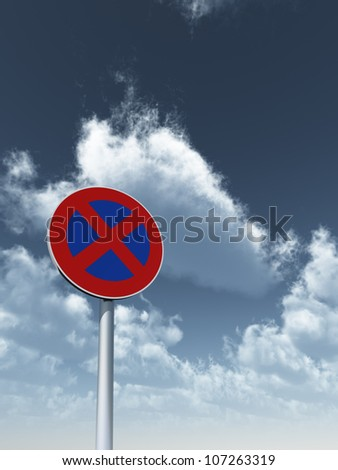 roadsign no parking under cloudy blue sky - 3d illustration - stock photo