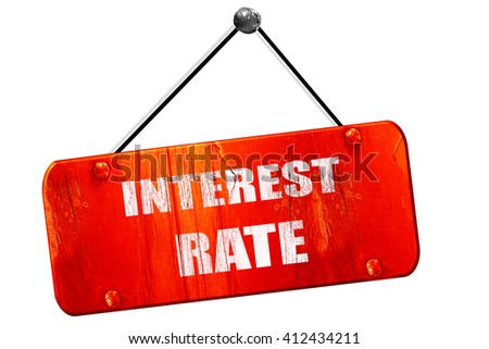 Roadsign of higher interest rates ahead against blue sky, 3D ren - stock photo