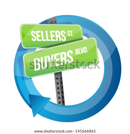 roadsign of words sellers and buyers illustration design over white - stock photo