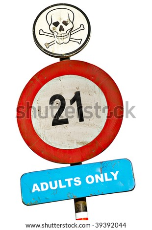 roadsign only adults allowed with skull text and bullet holes