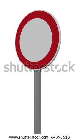 roadsign Prohibition for vehicles of all kinds on white background - 3d illustration